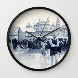 On the beach in 1900, history swimwear Wall Clock
