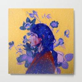 mysterious woman in flowers Metal Print