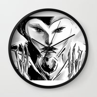 evil queen Wall Clocks featuring Evil Queen by Keith Gutierrez