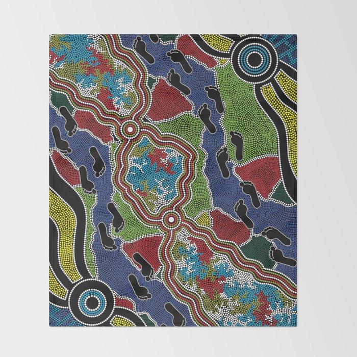 Aboriginal Art Authentic - Walking the Land Throw Blanket