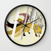 kitsune Wall Clocks featuring Kitsune by ravenguerrero