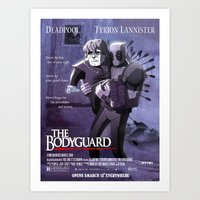 tyrion Art Prints featuring deadpool, tyrion lannister : the bodyguard by m7781