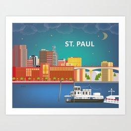 St. Paul, Minnesota - Skyline Illustration by Loose Petals Art Print