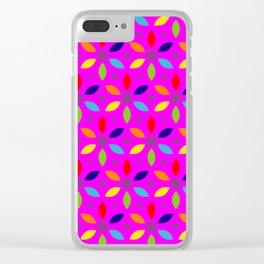 flowery magenta sheild Clear iPhone Case