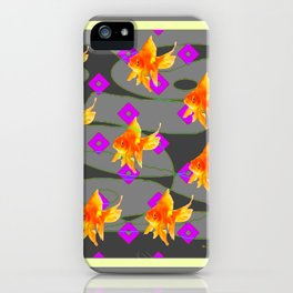Decorative Gold Fish Modern Grey  Abstract iPhone Case