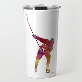Hockey man player 02 in watercolor Travel Mug