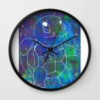 squirtle Wall Clocks featuring Squirtle by pkarnold + The Cult Print Shop
