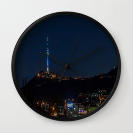 Seoul Tower at Night II Wall Clock