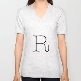Letter R Typewriting Unisex V-Neck