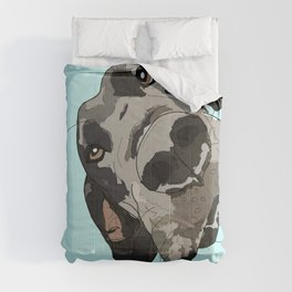 Great Dane in your face (teal) Comforters