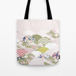 scales simple Nature background with japanese sakura flower, rosy pink Cherry, wave circle pattern Tote Bag