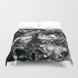 Black and white Marble texture acrylic paint art Duvet Cover