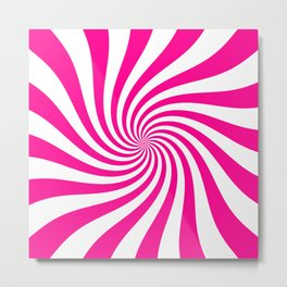Swirl (Magenta/White) Metal Print