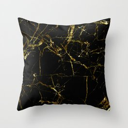 Golden Marble - Black and gold marble pattern, textured design Throw Pillow