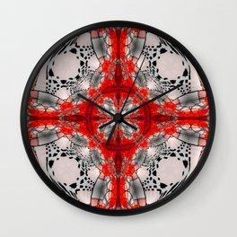 Red Warped Mandala Quadrants Wall Clock