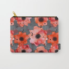 Watercolor poppies on gray background Carry-All Pouch