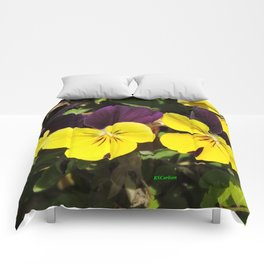 The Pansies at the Corner Comforters