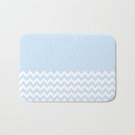 Half Baby Blue & White Chevron Bath Mat