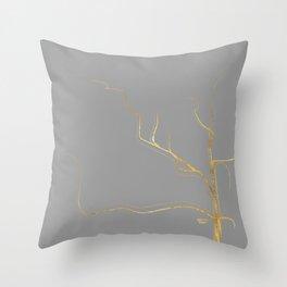 Kintsugi 3 #art #decor #buyart #japanese #gold #grey #kirovair #design Throw Pillow