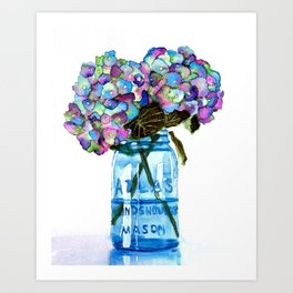 Watercolor Hydrangeas in Blue Mason Jar Art Print