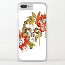 Geometric Skull & Roses Clear iPhone Case