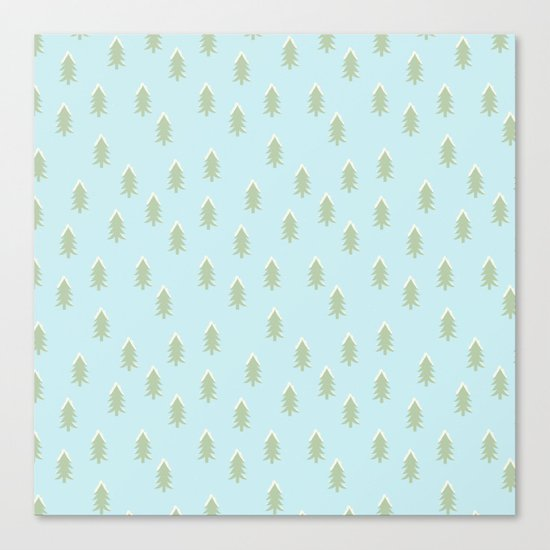 Merry christmas- With snow covered x-mas trees pattern on aqua backround Canvas Print