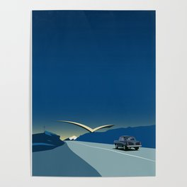 """Soviet Modernism: """"Seagull"""" road mark at the northern entry of Yerevan Poster"""