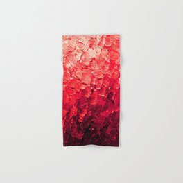 MERMAID SCALES 4 Red Vibrant Ocean Waves Splash Crimson Strawberry Summer Ombre Abstract Painting Hand & Bath Towel
