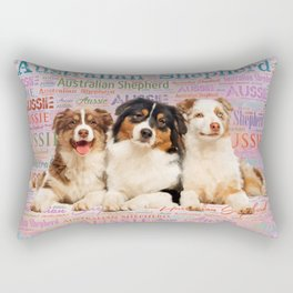 Australian Shepherd dogs  on Word Cloud 2 Rectangular Pillow