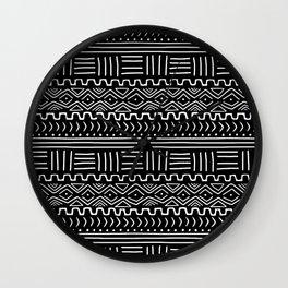 Mud Cloth on Black Wall Clock