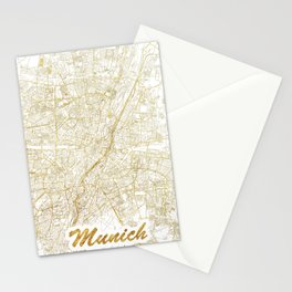 Munich Map Gold Stationery Cards