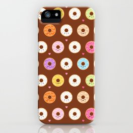 Kawaii Donuts Pattern on Brown iPhone Case