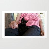 Lady and Cat Art Print
