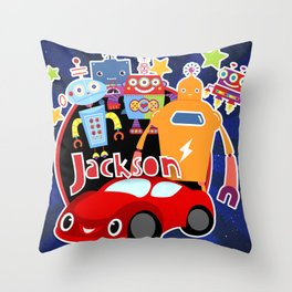 Jax-Red Car + Robots Throw Pillow
