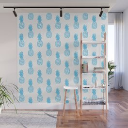 Light Blue Pineapple Wall Mural