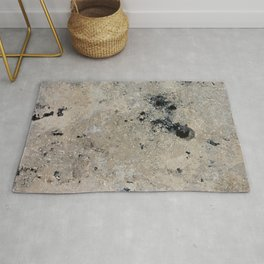 Abstract vintage black gray ivory marble Rug