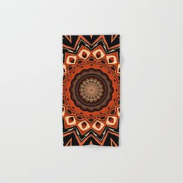 Boho Chic Rustic Orange Mandala Hand & Bath Towel