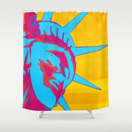 Pop Art Patriotic Liberty Shower Curtain