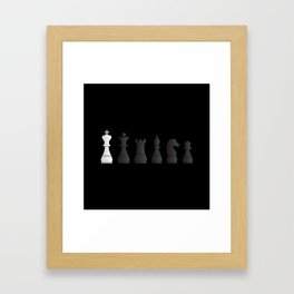 All black one white chess pieces Framed Art Print
