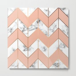 LUXE ROSE GOLD VECTOR ON BLACK AND WHITE MARBLE Metal Print