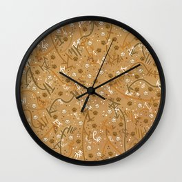 Pumpkin Spice Paw Prints Wall Clock