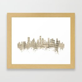 Houston Texas Skyline Sheet Music Cityscape Framed Art Print