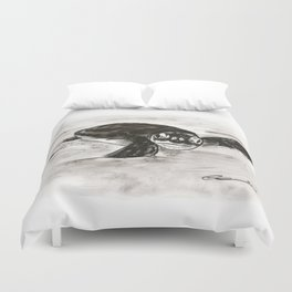 Baby Turtle Hatchling (Charcoal) Duvet Cover