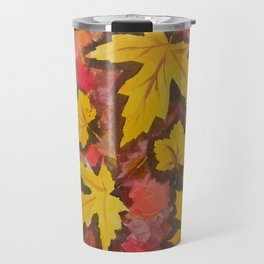 Autumn Leafs Red Yellow Brown Fall pattern based on the acrylic painting Travel Mug