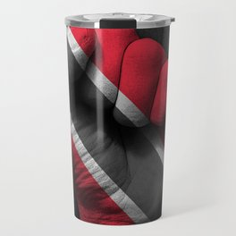 Trinidadian Flag on a Raised Clenched Fist Travel Mug