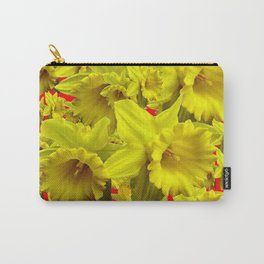 YELLOW SPRING DAFFODILS ON CHINESE RED ART Carry-All Pouch