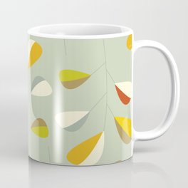 Mid Century Modern Graphic Leaves Pattern 1. Vintage green Coffee Mug