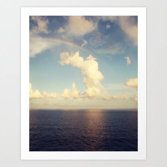Rainbow Over the Ocean Art Print