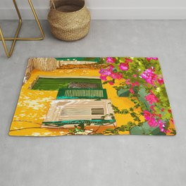 Living in the Sunshine. Always, Travel Sunny Summer Architecture Greece Spain Building Illustration Rug