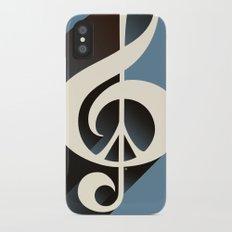 Steal Blue Retro Music & Peace Slim Case iPhone X